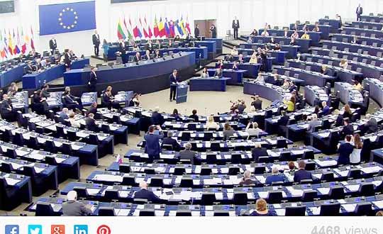 Плевнелиев говори в Европарламента. Снимка: от видео на заседанията